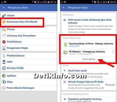 opsi keamanan login facebook