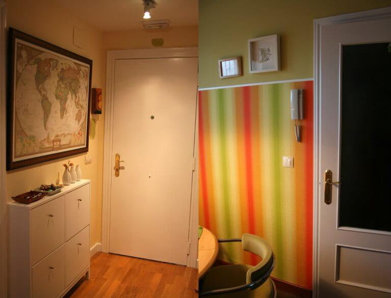 puerta interior pintada de blanco