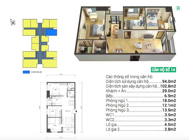 Thiết kế căn hộ 14 chung cư Housinco Grand Tower