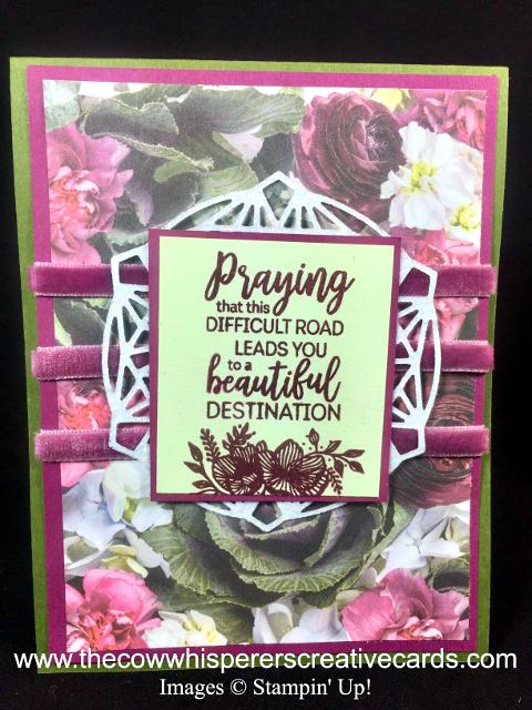 Card, Beautiful Promenade, Beautiful Layers Thinlits Dies, Petal Promenade Designer Series Paper, Velvet Ribbon, Clean & Simple
