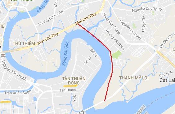 Thành phố đã chấp thuận quy hoạch làm đường van sông, xây cầu qua Đảo Kim Cương quận 2.