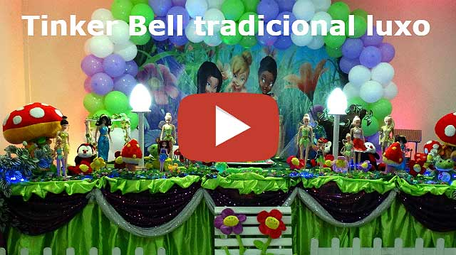 Mesa decorada luxo para festa de aniversário infantil tema Tinker Bell - Sininho