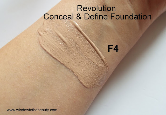 Revolution Conceal & Define Foundation swatches