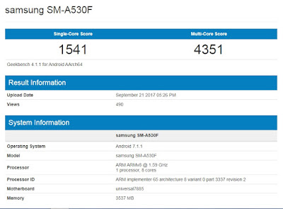 Samsung Galaxy A5 2018 (GeekBench)