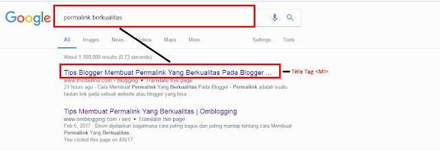 Mengoptimalkan Title Tag Pada Blogger Minta Ilmu Mengoptimalkan Title Tag Pada Blogger , Teknik Belajar SEO - Mengoptimalkan Title tag adalah salah satu yang sering dilakukan oleh para blogger sekarang ini , Title tag berguna untuk menampilkan judul pada pencarian google, ada contoh yang akan saya liatkan kepada anda : Hal-Hal Penting Mengoptimalkan Title Tag Pada Blogger : 1. Mengoptimalkan  *Membuat Title Tag Yang Berkualitas Bagaimana Mengoptimalkan Title Tag Mengoptimalkan Meta Title Tag Mengoptimalkan Meta Title Tag