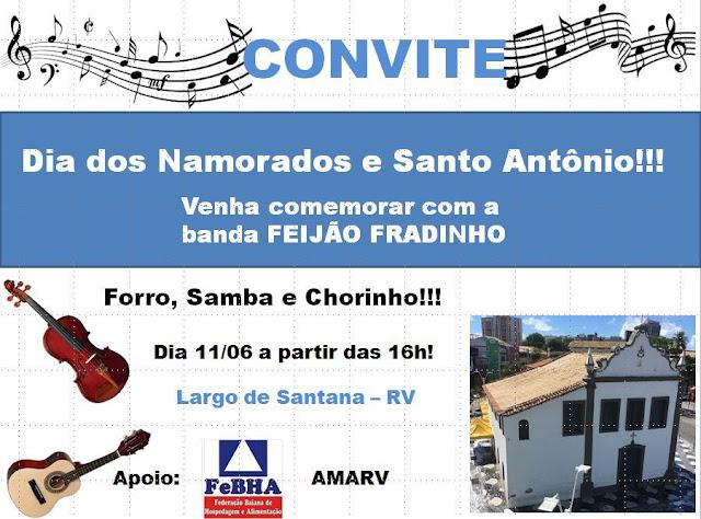 Forró, Samba e Chorinho domingo (11) na praça de Sant´Anna