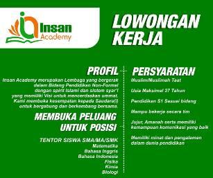 Lowongan Kerja Tentor di Insan Academy Makassar