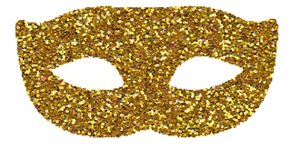 máscara carnaval dourada png