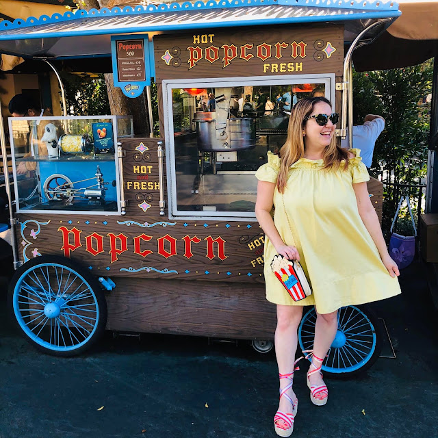 #BoundtoParkHop, Instagram photo challenge, clothing challenge, Disneyland, Disney bounding, Disney bounds, Jamie Allison Sanders, Favorite Park Snack, Popcorn, popcorn cart, Free People dress, popcorn purse