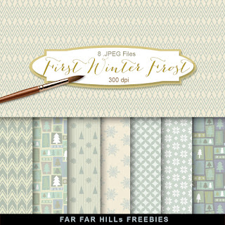 New Freebies Kit of Backgrounds - First Winter Frost