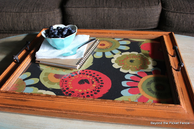 picture frame tray repurposed http://bec4-beyondthepicketfence.blogspot.com/2012/06/tray-chic.html