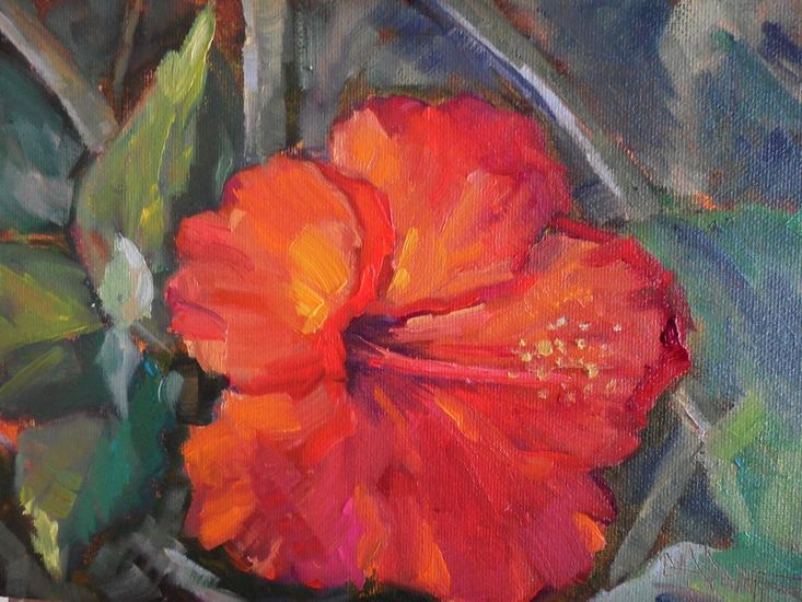 CAROL SCHIFF DAILY PAINTING STUDIO: Original Red Hibiscus ...