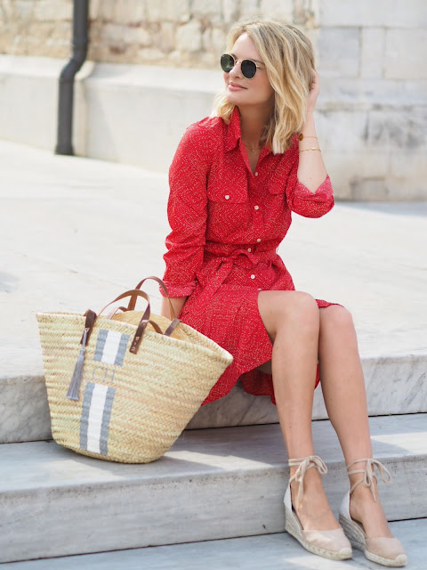 ralph lauren shirt dress, shirt dress, red shirt dress, basket bag, wicker basket, wedge heels, ray ban sunglasses, travel outfit, travel look, holiday look