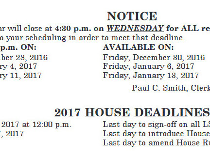 2017 Session NH Legislative Calendar Is Out