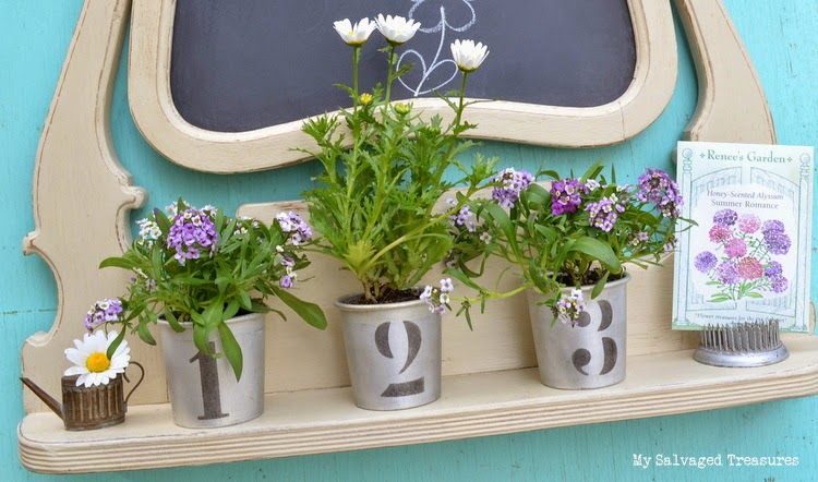 repurposed dresser mirror frame chalkboard stenciled cups