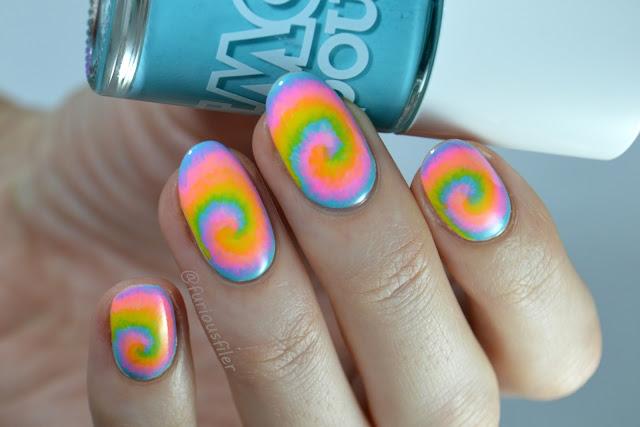 tie dye nail art video tutorial festival neon