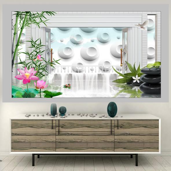 Tranh thác nước phong cảnh 3D hình gốc psd