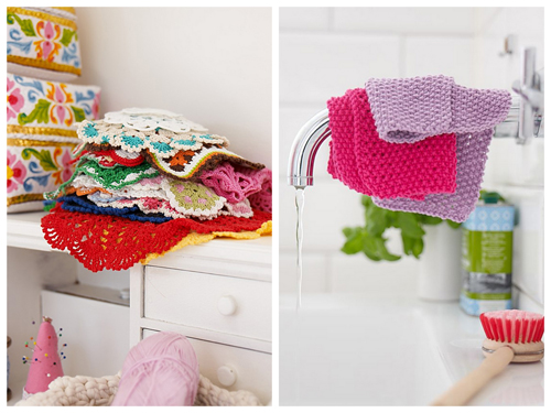 Crochet pot holders and cloths