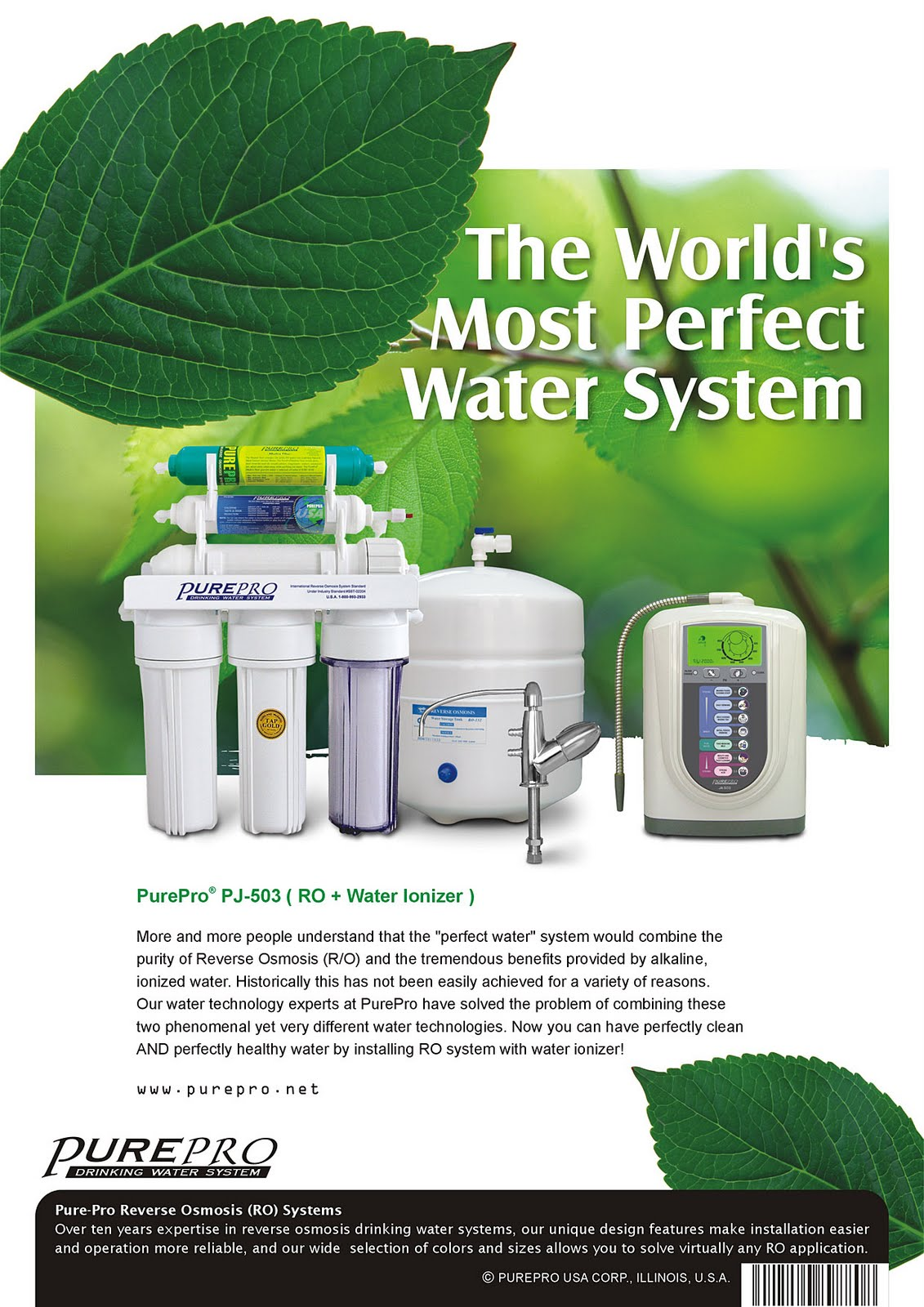 PurePro Perfect Water PJ-503  Reverse Osmosis + Water Ionizer Water Filtration System