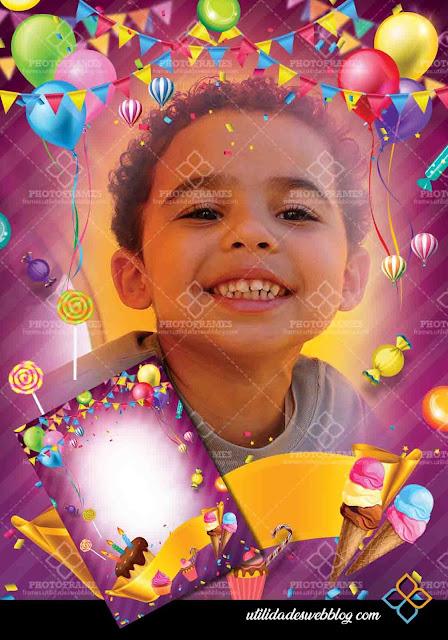 Marco color púrpura para colocar fotos de cumpleaños