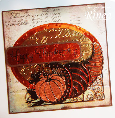 Thanksgiving Card Using Rinea Foiled Paper