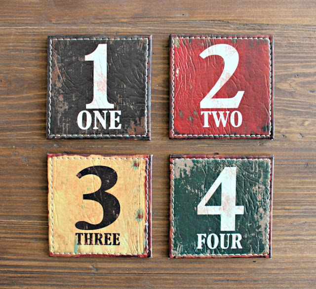 numbered leather coasters