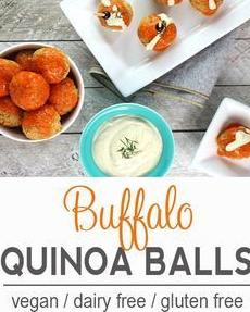 Buffalo Quinoa Balls with Ranch Dipping Sauce