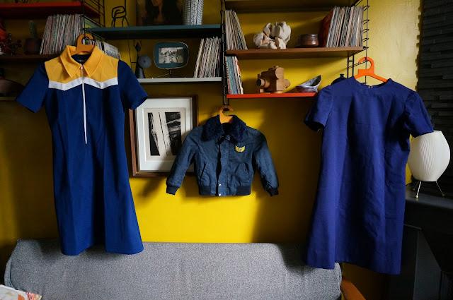 70s dress waitress 1970s aline navy blue yellow white colorblock