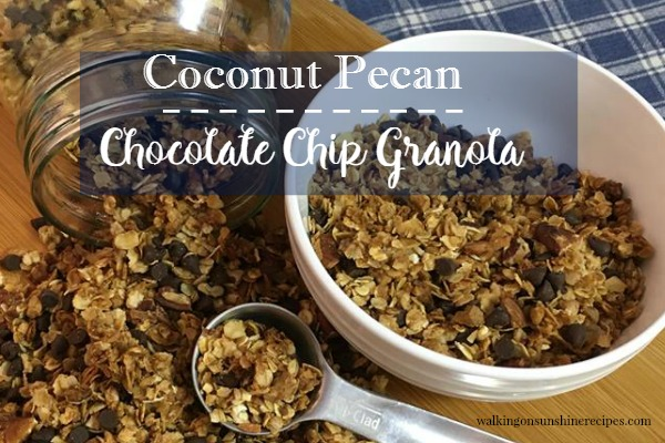 Easy homemade granola recipe made with coconut, pecan, chocolate chip and maple syrup.