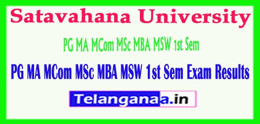 SU Satavahana University PG MA MCom MSc MBA MSW 1st Sem Exam Results 2018