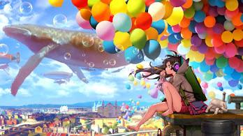 Anime, Girl, Bubbles, Fantasy, Scenery, Balloons, 4K, #231