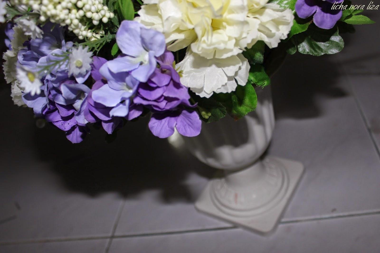 DIY Bunga Hiasan Pelamin Tema Ungu Putih Nora Liza