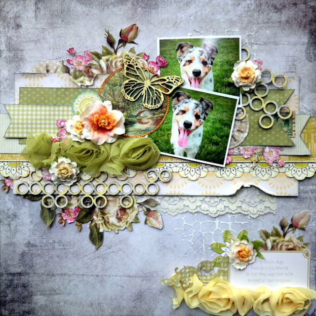 Multi-Photo Dog Scrapbook Layout with Floral and Chipboard Accents