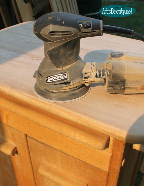 ROCKWELL ORBITAL SANDER FARMHOUSE STYLE ROLLING KITCHEN CART MAKEOVER