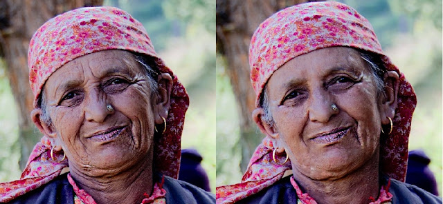 Many times, this question is asked on forums that how can we remove face wrinkles in Adobe Photoshop Elements. In fact many times, people in fashion photography use beautifying techniques in Photoshop or Photoshop Elements. Today, we shall discuss about very basic stuff about Wrinkle Removal using Spot Healing Brush Tool in Adobe Photoshop Elements...Let's go step by step and try to remove wrinkles of photograph shown below1. Open your photograph in Editor workspace of Adobe Photoshop by 'File' Menu and 'Open' option. 2. When Photograph is open, zoom-in so that you clearly see wrinkle areas.  Above photograph is zoomed in upto 90% to clearly see face in Editor workspace.3. On left hand Tool-Bar select Spot Healing Brush and select appropriate size and make sure brush selected has some feather on its edges. For above photograph I selected 7 pixel wide brush which will be required for wide wrinkles. Size will wary from one place of the face to other and also on thickness of a wrinkle. So you may need to change the size multiple times.4. After selecting Spot Healing brush, just make a sroke on one wrinkle and you will see that it samples from surrounding areas to fill that selection area and it becomes smooth.5. Just have a look at image I got  in 5 minutes without even changing Brush settings. Although all the wrinkles are taken care in image below, but idea is to just share the way to remove these and experiment with brush settings to get more accurate results. At times, wrinkle removal may leave some blemishes which can be handled with opaque Cloning and we shall talk about it in detail during next article. Please try this technique and share your experiences/questions through comments.