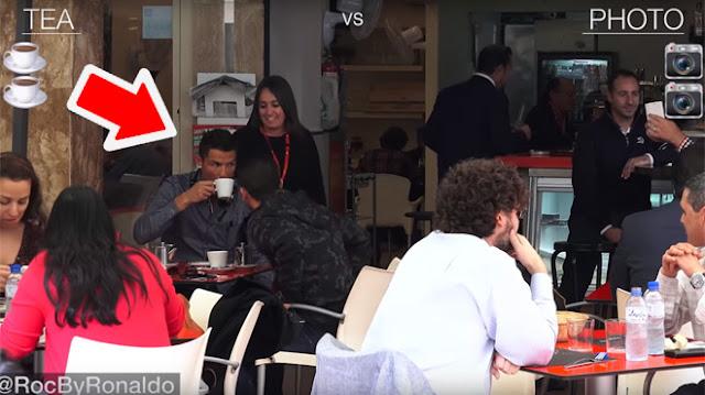 Cristiano Ronaldo voulait simplement boire un thé en terrasse mais... (Vidéo)