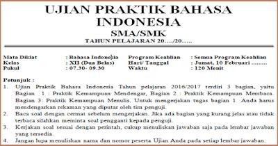 Soal Ujian Praktek Bahasa Indonesia SMA/SMK 2019