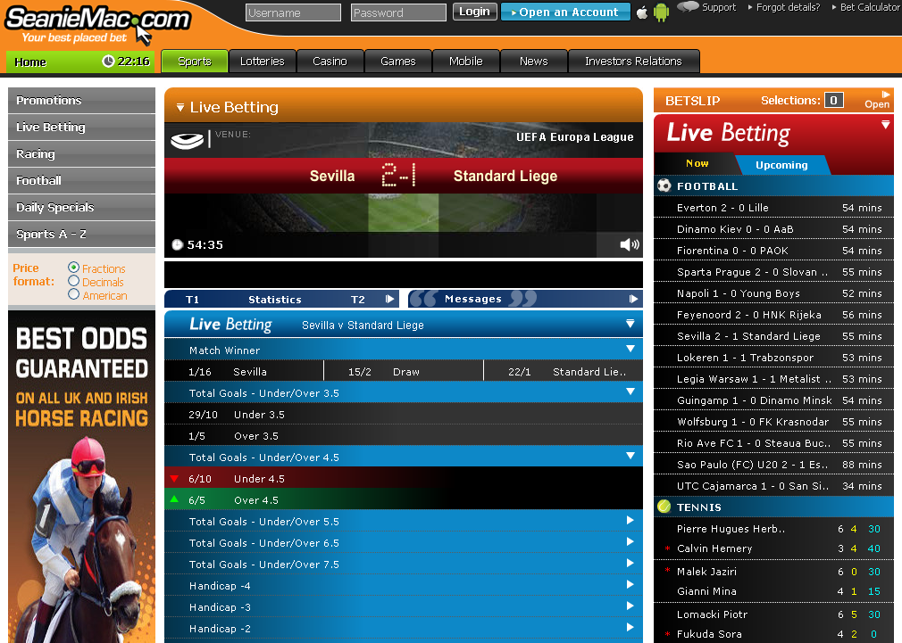 Seaniemac Live Betting Screen