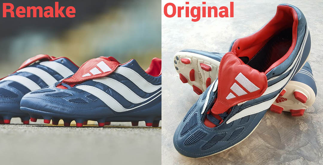 The Adidas Predator Precision 2017 remake is much less different to the  original boot than the Adidas Predator Mania Champagne remake to the  original boot 1310764b5