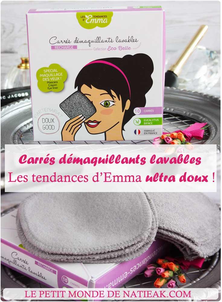 carrés démaquillants lavables gris spécial yeux de Les tendances d'Emma