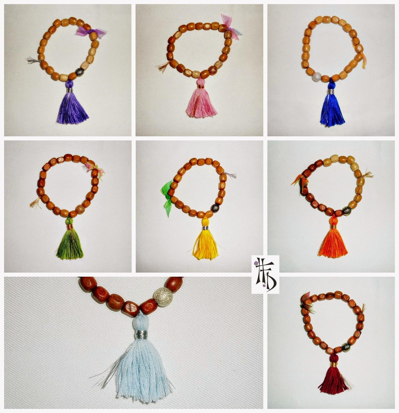 MALA TASSEL. Pulseras con cuentas de madera y borlas / Bracelets with wooden beads and tassels