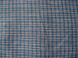 blue plaid linen shirt back
