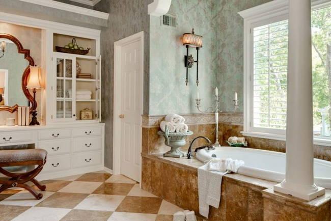 beyaz kahve banyo zemini