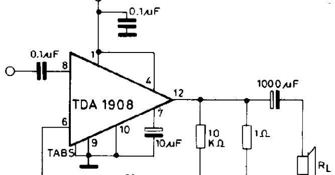 Wiring Schematic diagram: 8W AUDIO AMPLIFIER TDA1908