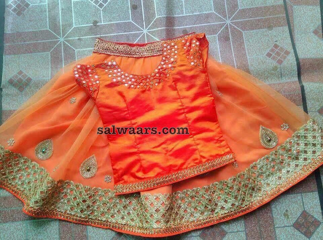 Orange Mirror Lehenga Boat Neck Blouse