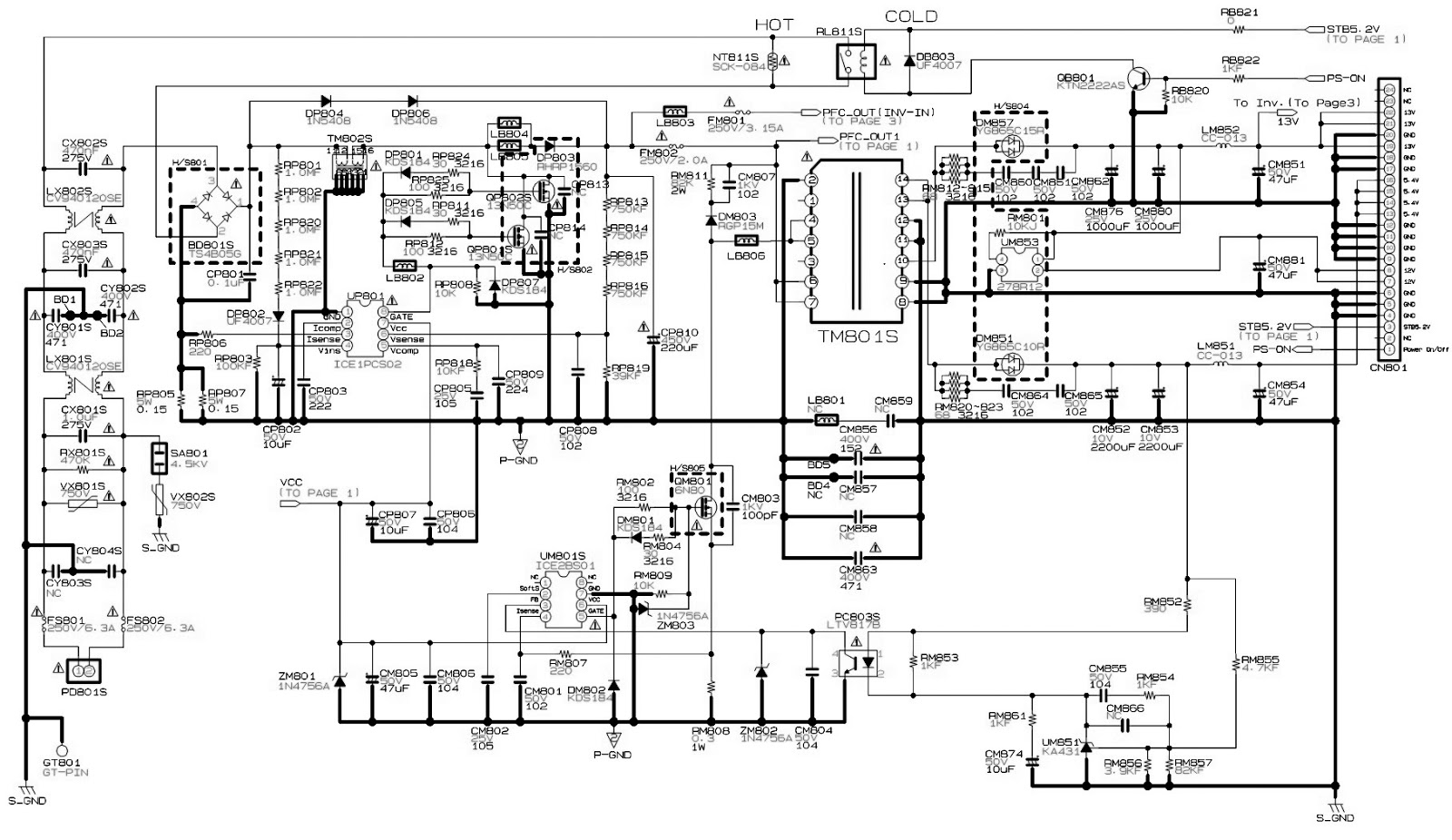led tv circuit diagrams