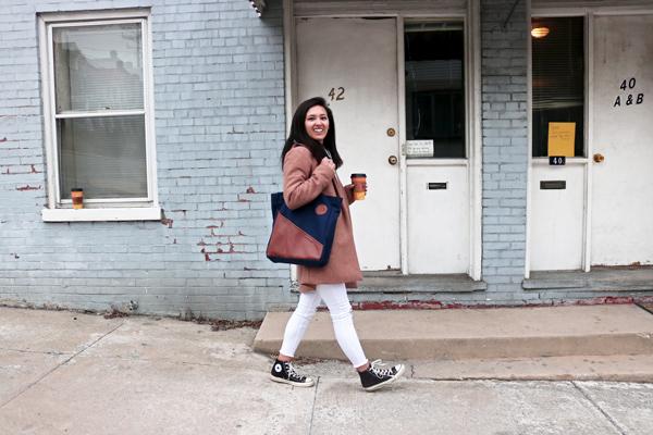Minimalist Street Style White Jeans Camel Coat Converse