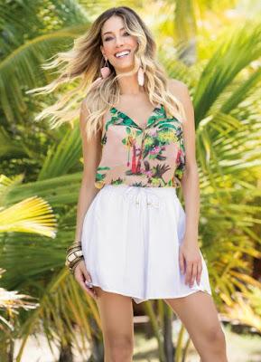Moda feminino Blusa Tropical de Alça com Decote V Quintess