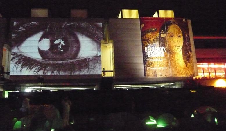 Projection de l'oeuvre Témoins sur la façade du Musée de Grenoble