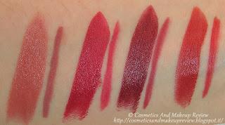 PuroBIO swatches lipstick+lip liner - da sinistra a destra: 02+08, 04+38, 05+39, 07+40 (luce artificiale diretta)